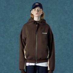 [Ncover] Color block hoodie zipup-brown