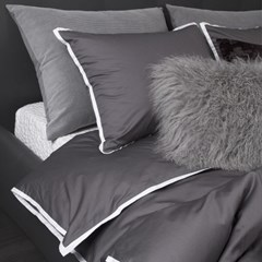 White Lining Dark Gray Bedding Set _K
