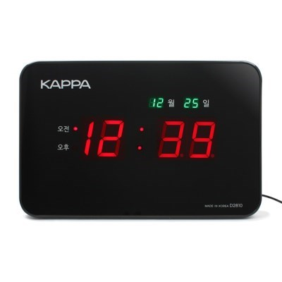 카파 D2810 블랙 고휘도 슈퍼 레드LED 디지털벽시계 국내산