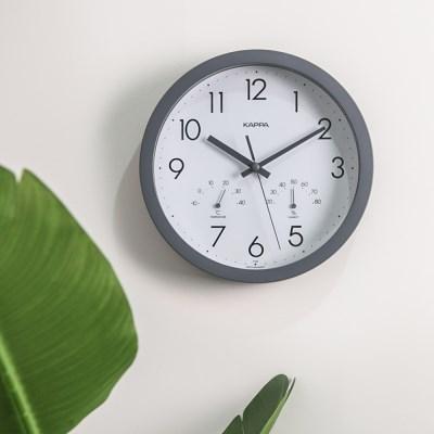 카파 IP248 그레이 온도습도표시 무소음 인테리어벽시계