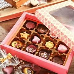 초콜릿 만들기 세트 (12구) - 핑크 사각_(1199608)