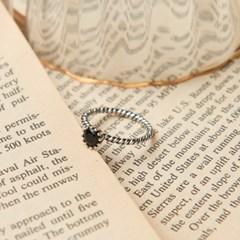 [925실버] 블랙 꼬임 큐빅 반지