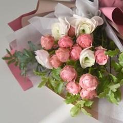 생화 자나 장미 & 러넌큘러스 꽃다발(친환경보냉박스사용)