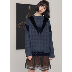 [제이비리파인] VELVET DETAILED BLOUSON CHECK SWEA