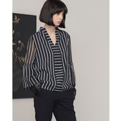 [제이비리파인] STRIPE SHIRTS BLOUSE WITH LACE HEM