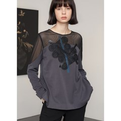 [제이비리파인] ABSTRACT PRINT MESH SHOULDER BLOUS
