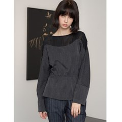 [제이비리파인] BLACK CHIFFON SLIM WAIST BLOUSE