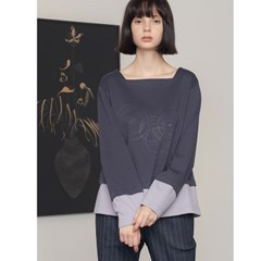 [제이비리파인] SQUARE NECK GEOMETRIC PRINT TOP