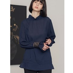 [제이비리파인] HIGH NECK BLOUSE WITH FRILL CUFF