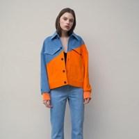 [티스오피스] 블루오렌지 컷업 멀티컬러 데님자켓