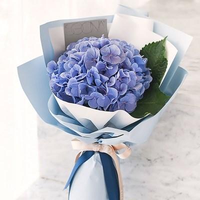 감성가득 빈티지 블루 수국 꽃다발 생화 [전국택배]