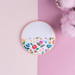 뚜누 무광코팅 원형 예쁜꽃손거울