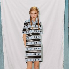 EMOTICON STRIPE MIXED EYEYE POLO KNIT DRESS_BLUE (EEON1OPR02W)