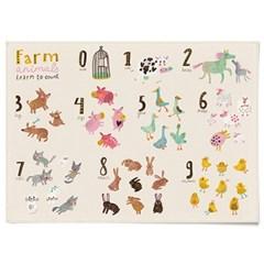 패브릭 천 포스터 F051 아이방 학습 그림 액자 동물 숫자