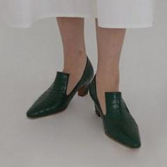 [모어글렌]texture loafer heel (3colors)