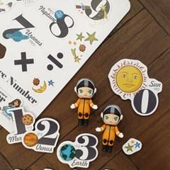꼬메모이 쥬에 우주 숫자/자석 교구 퍼즐 칠판 유아