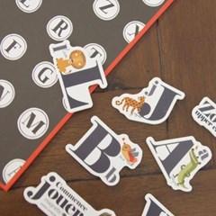 꼬메모이 쥬에 동물 알파벳/자석 교구 퍼즐 칠판 유아