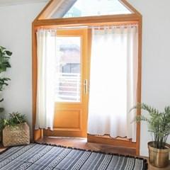 심플 모던 깔끔한 화이트 린넨 창문 가리개 커튼_(1217857)