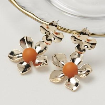 더블 오렌지 꽃 귀걸이