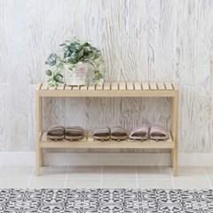 [잉카]소나무 원목 벤치형 신발정리대 2단 800 2컬러