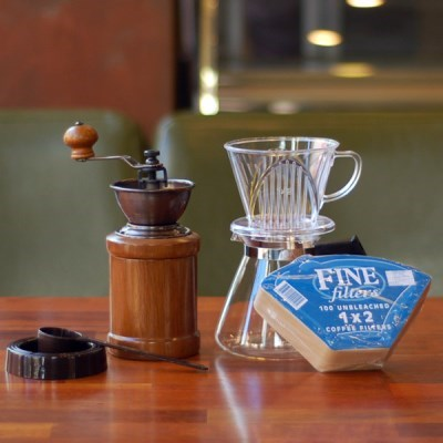 [알럽커피] 커피세콩 투명드립세트(투명+필터+유리서버+핸드밀)