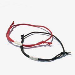 [Unisex]레드&블랙 캐주얼 매듭 팔찌 2세트