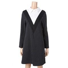 [제이비리파인] 브이 라인 스트라이프 셔츠 드레스