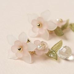 투명 핑크 꽃 쇼트 귀걸이