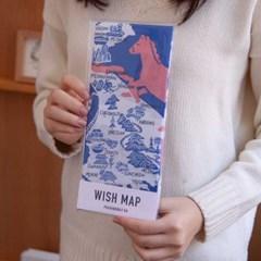 paw wishmap original blue 한국지도 손수건 패브릭포스터