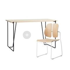 듀오백 바인츠 우드 테이블+슬림체어 세트(책상+의자)_(602706444)