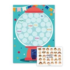 생일축하해 세트- 짝궁 카드(30매)+버블 칭찬스티커(블루)(10세트)