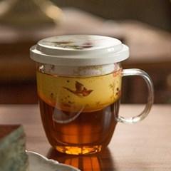 꽃무늬유리머그잔 / 유리찻잔 커피잔 카페유리잔 머그컵