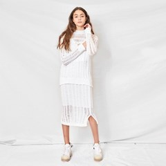Knit mesh two-piece(skirt)_WH