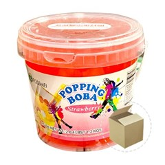 꽃샘 팝핑보바 스트로베리향 1.2kg 1박스(6개)/버블티_(800760)