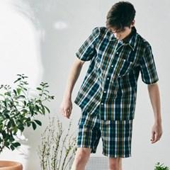 [M] Woody Short Sleeve PJ Set Seersucker Rainbow Green