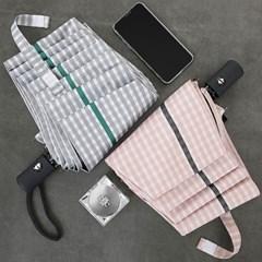 심플체크 UV차단 우산 양산(3단자동)
