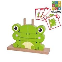 원목 개구리 유니 블럭 퍼즐 유아 장난감 교구