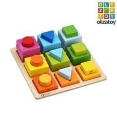 알록달록 원목 지오 메트릭 블럭 퍼즐 유아 장난감 교구
