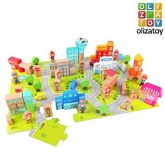 원목 컬러 도시 만들기 블럭 놀이 세트 유아 장난감