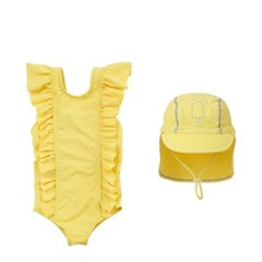 프릴 유아 아동 여아수영복+UV수영모자 세트