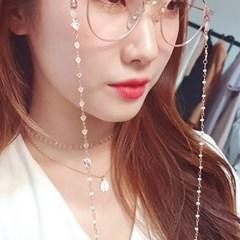 로즈골드 하트체인 담수진주 안경줄