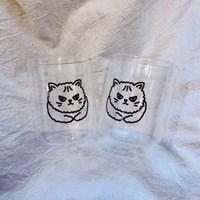 악당 고양이 홈카페 유리컵