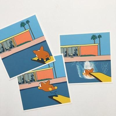 데이비드 코기니 'A Bigger Splash'  [Parody]  그림카드