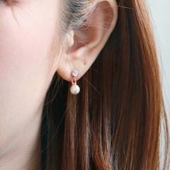 로즈골드 심플진주 귀걸이.귀찌