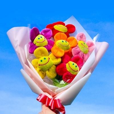 스마일 꽃 인형 꽃다발 2size [졸업식,기념일]