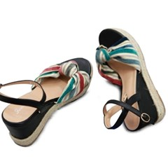 kami et muse Color mixed tied strap wedge sandals _KM19s166