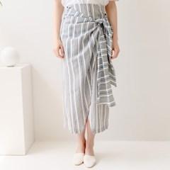[320쇼룸]Linen Wrap Snap Skirt Stripe