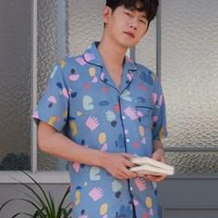 [m] Blue Fiona Short Pajama Set