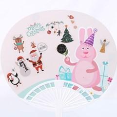 [펠트친구]큐티크리스마스 부채꾸미기(투명스티커포함)