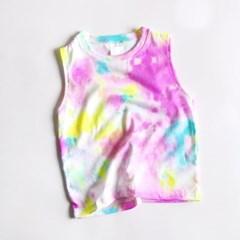 컬러물나염 아동 나시티셔츠